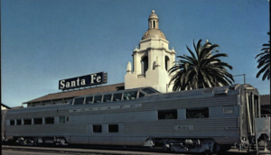 "ATSF #501, one of the new ""Pleasure Domes"" built by Pullman-Standard, in San Diego before entering regular service on the Super Chief."