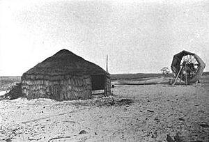 Shackleford Banks - Camp for mullet fishermen on Shackleford Banks, 1907.
