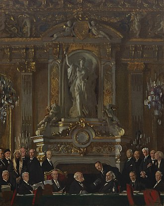 The Signing of Peace in the Hall of Mirrors - Image: A Peace Conference at the Quai d'orsay Art.IWMART2855
