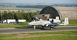 A U.S. Air Force A-10 Thunderbolt II aircraft with the 81st Fighter Squadron taxis to the runway Sept 120904-F-GX122-229.jpg