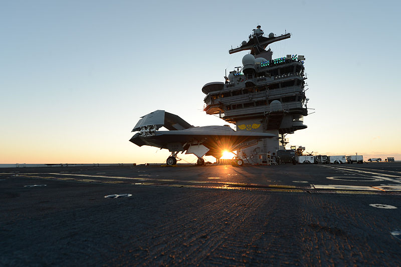 File:A U.S. Navy X-47B Unmanned Combat Air System demonstrator aircraft is lifted on an aircraft elevator aboard the aircraft carrier USS George H.W. Bush (CVN 77) May 14, 2013, in the Atlantic Ocean 130514-N-YZ751-191.jpg