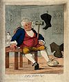 A gouty man surrounded by horse-riding accoutrements. Colour Wellcome V0010867.jpg