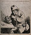 A man sits at a table lighting his pipe. Etching by D. Deuch Wellcome V0019034.jpg