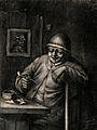 A man sits at a table preparing to smoke his pipe, behind hi Wellcome V0019030.jpg