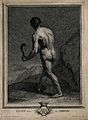 A naked man walks through a rocky landscape with a scythe; r Wellcome V0007623.jpg