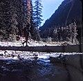 A river crossing. North Cascades Trail Camp, 1972. (50933917017).jpg