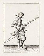 Aanwijzing 9 voor het hanteren van het musket - V lont versoeckt (Jacob de Gheyn, 1607)