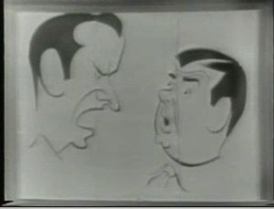 English: Caricature of Abbott and Costello sho...
