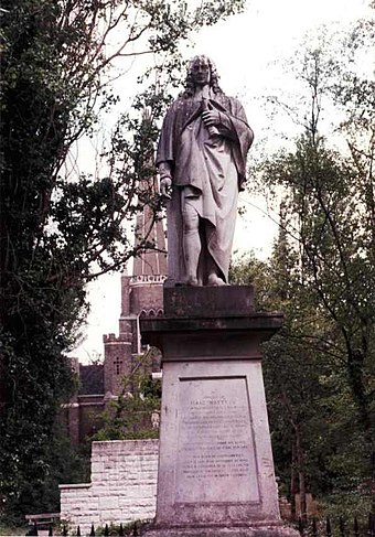 London's only public statue to Isaac Watts is in Abney Park, Stoke Newington. Abneysharelist.jpeg