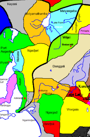 "Wilyakali - Traditional lands of the Wilyakali, shown as ""Wiljali""."