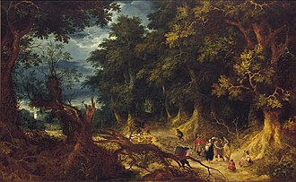 Abraham Govaerts - Wooded Landscape with Gipsy Women