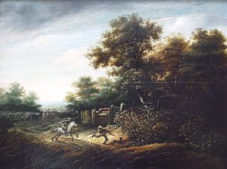 Landscape with scene of an armed holdup