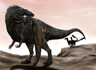 Acrocanthosaurus - Acrocanthosaurus carrying a Tenontosaurus carcass away from a pair of Deinonychus
