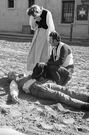 Corriganville Movie Ranch - Actors in an outdoor shooting-and-death scene, 1963