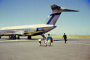 Adelaide Airport - Passengers boarding from the tarmac in December 1967; this continued for domestic passengers until 2006.