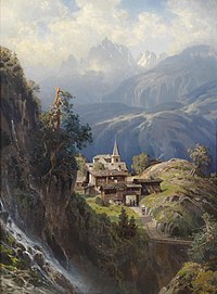 Lukisan Village in the Bernese Alps (desa di pegunungan Alpen Bern) oleh Adolf Mosengel (sebelum 1885)