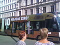 Advertising on a Riga tram using the word 'eiro' for the euro.jpg