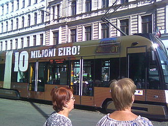 Latvian euro coins - Advertising on a tram using the word 'eiro' for the euro.
