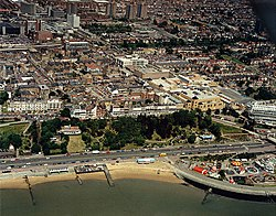 Aerial view of Southend seafront, west from the pier - geograph.org.uk - 1723731.jpg