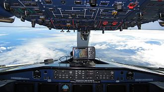 Dornier 328 - Forward-facing internal view from the cockpit of an in-flight 328