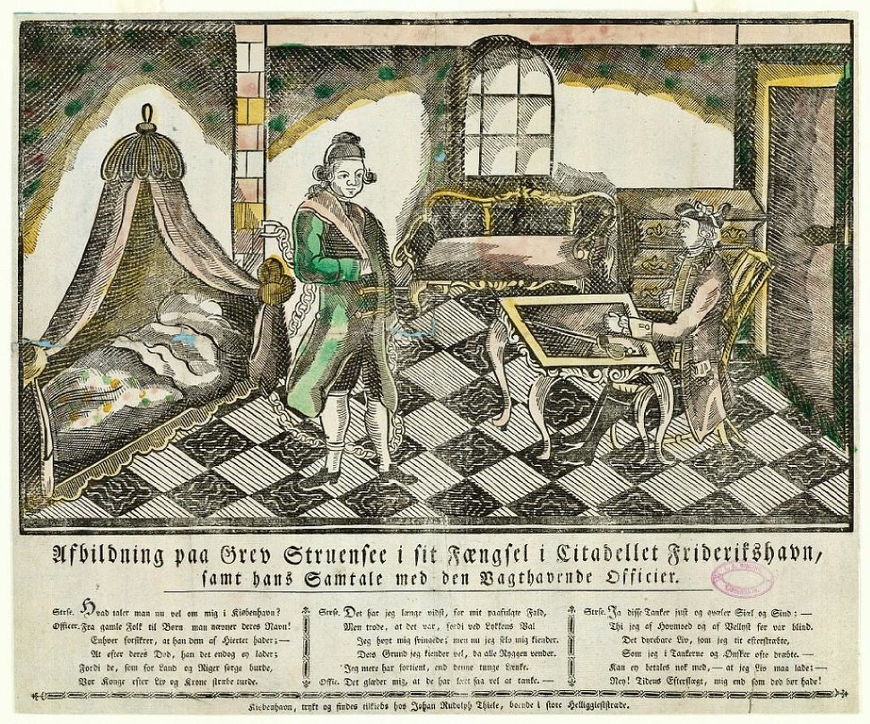 Afbildning paa Grev Struensee i sit Fængsel object179