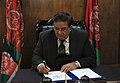Afghan Misnister Wardak sighns a NATO treaty.JPG