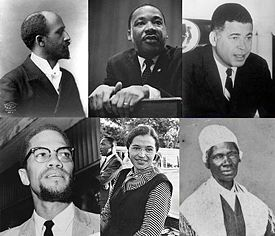 Top left: W. E. B. Du Bois; Top center: Martin Luther King, Jr.; Top right: Edward Brooke; Bottom left: Malcolm X; Bottom center: Rosa Parks; Bottom right: Sojourner Truth