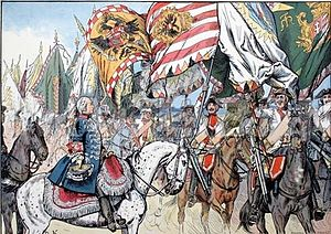Silesian Wars - Prussian cavalry celebrating with captured Austrian and Saxon banners after their victory in the 1745 Battle of Hohenfriedberg, as depicted by Carl Röchling