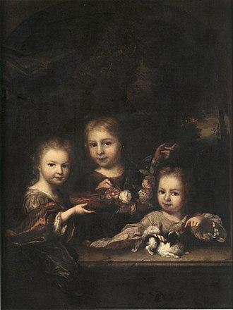 Arnold Boonen - Detail of a portrait of Agatha Levina, Joan and Ana Elisabeth Geelvinck, c. 1705.