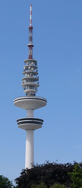 Microwave transmission - Dozens of microwave dishes on the Heinrich-Hertz-Turm in Germany