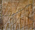Alabaster bas-relief, procession of Assyrian soldiers and musicians carrying rectangular drums, reign of Sennacherib, from Nineveh, Iraq. 7th century BCE. Pergamon Museum, Berlin.jpg