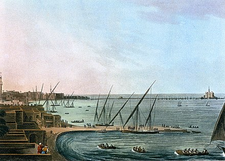 Alexandria in the late 18th century, by Luigi Mayer Alexandrie et phare.jpg