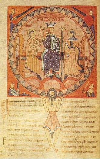 Menendo González - Alfonso V in the twelfth-century Libro de los Testamentos (fol. 53v).