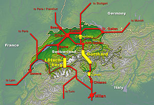 Rail map of Switzerland and surrounding countries
