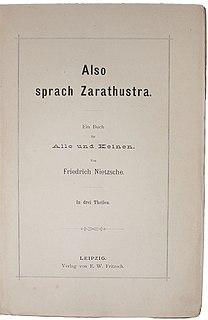 <i>Thus Spoke Zarathustra</i> Philosophical novel by Friedrich Nietzsche