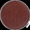 Amberg Oberpfalz, 1921, 25 Pf, Keramik b.png