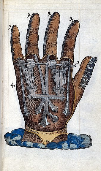 """Illustration of mechanical hand"", c. 1564. Ambroise Pare; prosthetics, mechanical hand Wellcome L0023364.jpg"