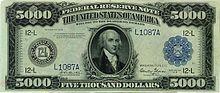 American 5000-dollar bill (front)