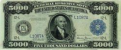 Được in năm 1918, mệnh giá $5.000, mặt trước