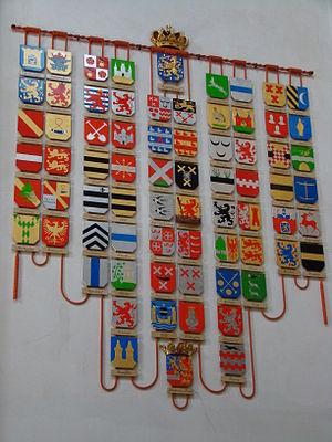 Marquis of Veere and Flushing - Coats of arms corresponding to the titles borne by various Dutch monarchs, including Veere and Flushing (right above the bottom crowned arms), displayed at Nieuwe Kerk in Amsterdam