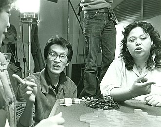 Amy Hill - Wayne Wang and Amy Hill on the set of Dim Sum: A Little Bit of Heart in 1983