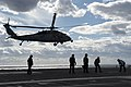 An MH-60S Sea Hawk helicopter lands aboard USS Dwight D. Eisenhower. (23318077382).jpg