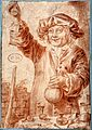 An alchemist holding up a small flask. Red chalk drawing for Wellcome V0025556.jpg