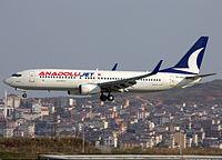 AnadoluJet Boeing 737-800 landing at Sabiha Gökçen International Airport.jpg