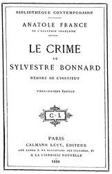 Anatole France: Le Crime de Sylvestre Bonnard