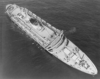 SS Andrea Doria - Andrea Doria awaiting its impending fate the morning after the collision in the Atlantic Ocean, 26 July 1956