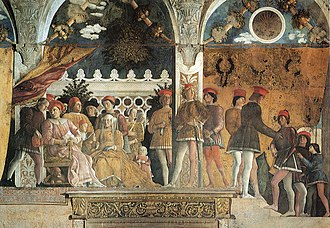 Fresco. A close-up view of richly dressed middle-aged couple seated on a terrace with their family, servants and hound. The man discusses a letter with his steward. A little girl seeks her mother's attention. The older sons stand behind the parents. The space is restricted and crowded in a formal manner, but the figures are interacting naturally.