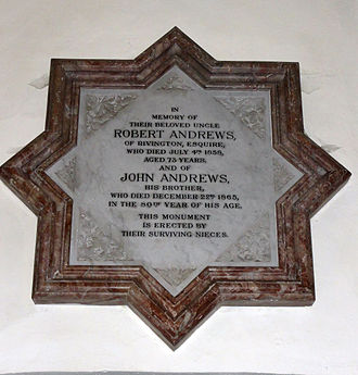 Rivington Unitarian Chapel - Image: Andrews memorial rivington unitarian chapel