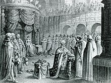 The anointment of King Frederick VI at Frederiksborg Palace on 31 July 1815. The ceremony was postponed due to the Napoleonic Wars. (Source: Wikimedia)