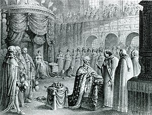 Frederick VI of Denmark - The anointment of King Frederick VI at Frederiksborg Palace on 31 July 1815. The ceremony was postponed due to the Napoleonic Wars.